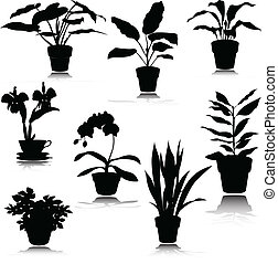 silhouettes, potted, vector, bloem