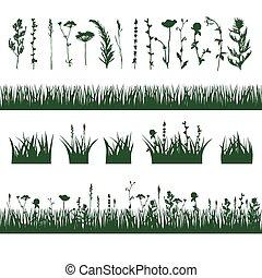 silhouettes, pré, herbe