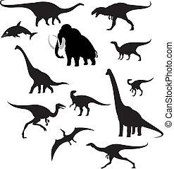 silhouettes, prehistorisch, dieren