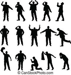 silhouettes, problèmes, homme