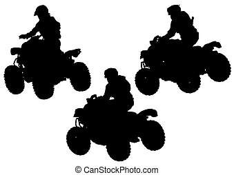 Silhouettes quad - Silhouettes athletes on quad on white...