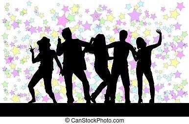 silhouettes., résumé, danse, arrière-plan., gens