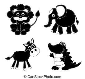 silhouettes, röra, djuren