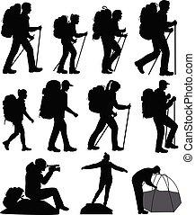 silhouettes, randonnée, gens