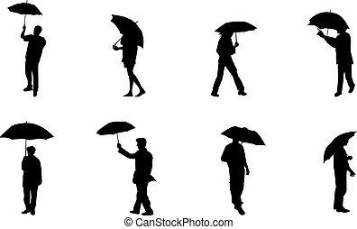 silhouettes, regen, mensen