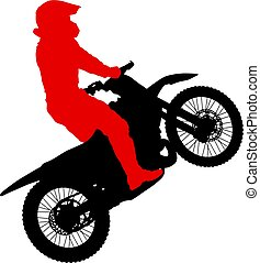Silhouettes Rider participates motocross championship on...