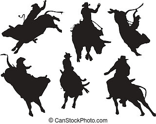 silhouettes., rodeo, vector, seis, ilustración