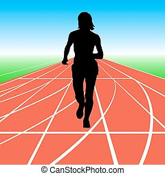 Silhouettes. Runners on sprint, women. vector illustration -...