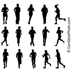silhouettes, sätta, spring, vandrande