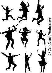 silhouettes, sauter, bonheur