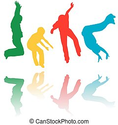 silhouettes, sauter, coloré, enfants