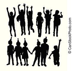 silhouettes, sauter, enfants, heureux