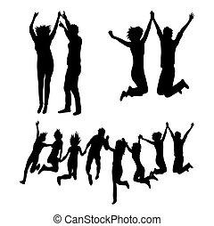 silhouettes, sauter, ensemble, heureux
