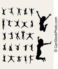 silhouettes, sauter, heureux