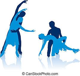 silhouettes, schaatsers, paren, figuur