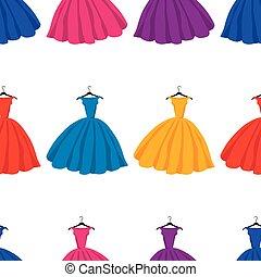 silhouettes, seamless, femme, modèle, coloré, robes
