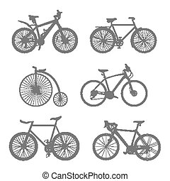 silhouettes, set, bicycles
