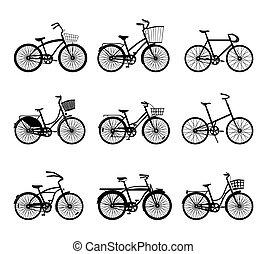 silhouettes, set, bicycles, retro