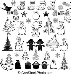silhouettes, set, black , spotprent, kerstmis