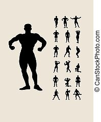 silhouettes, set, bodybuilding