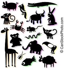 silhouettes, set, dieren