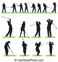 silhouettes, set, golf