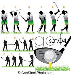 silhouettes, set, golf