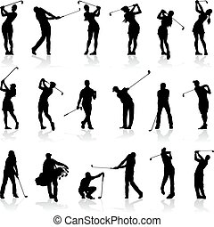 silhouettes, set, golf, vrouwlijk, mannelijke