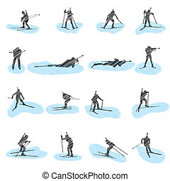 silhouettes, set, grunge, biatlon
