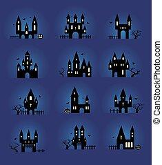 silhouettes, set, halloween