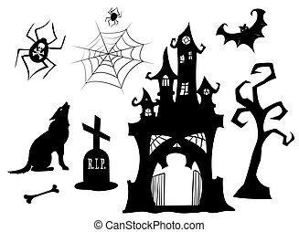silhouettes., set, halloween