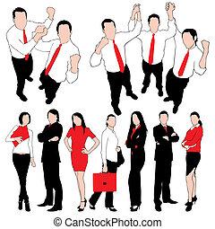 silhouettes, set, iso, zakenlui
