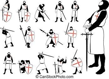 silhouettes, set, kruisvaarder