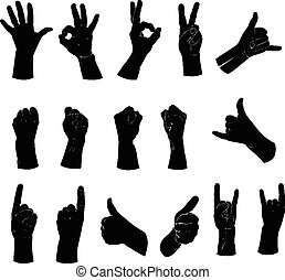 Silhouettes set of hands showing different gestures