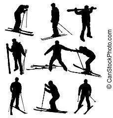 silhouettes, set, ski