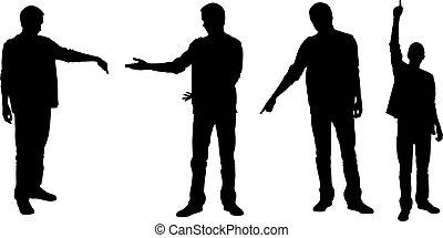 silhouettes, set, vingers, wijzende, mensen