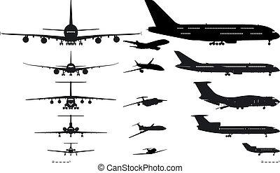 silhouettes, set, vliegtuigen