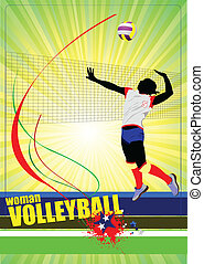 silhouettes, set, volleybal, vrouwen
