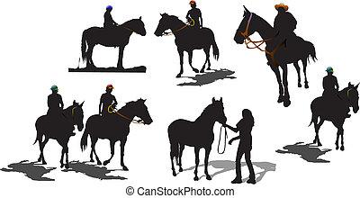 silhouettes., sete, vetorial, cavalo, ilustração