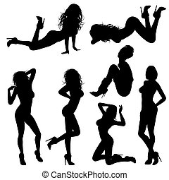 Sexy Girl - Silhouettes Sexy Girl in various Poses, isolated...