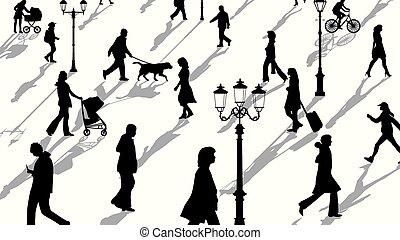 silhouettes, shadows., gens