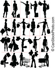 silhouettes., shopping mulher, vecto