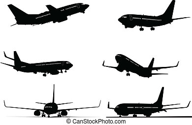 silhouettes, six, avion