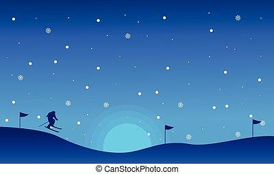 silhouettes, ski, noël, paysage, gens