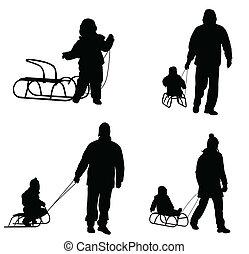 silhouettes, sledding