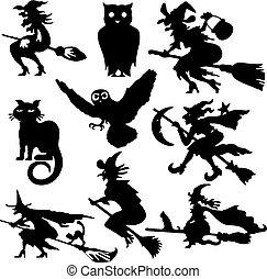 silhouettes, sorcière