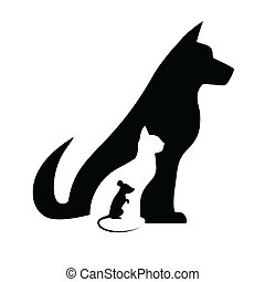 silhouettes, souris, chien, chat