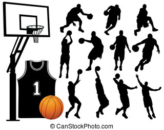 silhouettes, spelare, basketboll