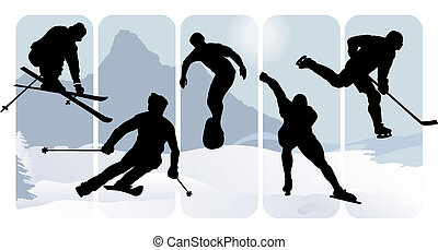silhouettes, sport, hiver