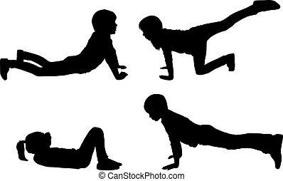 silhouettes, sport., kinderen